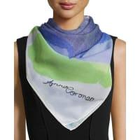 Anna CoroneoSpot Classic Silk Square Scarf, Blue/Green