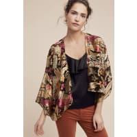 AnthropologieFloral Satin Burnout Kimono