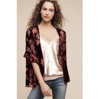 AnthropologieRuffled Velvet Kimono