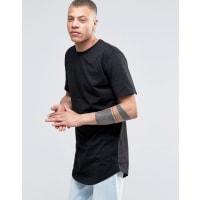AntiochT-shirt lunga con fondo arrotondato e logo ricamato - Nero