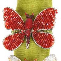 Arcadia HomeButterfly Napkin RingsRed / Orange