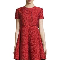 ArmaniJacquard Short-Sleeve Bolero, Matisse Red