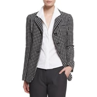 ArmaniLong-Sleeve Three-Button Blazer, Black/White