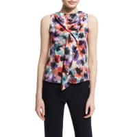 ArmaniSleeveless Draped Floral-Print Silk Blouse, Multi Colors