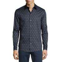 ArmaniTriangle Line-Print Long-Sleeve Sport Shirt, Navy