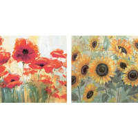 ArtlandHome affaire SET: Wandbild-Set »Mohn- und Sonnenblumen«, Größe: je 29 x 29 cm (2tlg.)