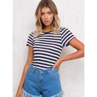 AS ColourWomens AS Colour Basic Stripe Tee Navy/White 10