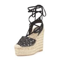 AshTessa Lace-Up Espadrille Wedge Sandal, Black/Piombo