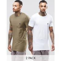 AsosLanges Muskel-T-Shirt im 2er-Set mit Logo, 15% RABATT, in Grün/Weiß - Mehrfarbig