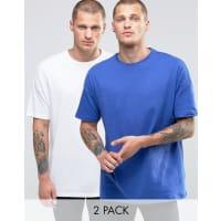 AsosLange Oversize-T-Shirts in Weiß/Blau im 2er-Set, 15% RABATT - Mehrfarbig
