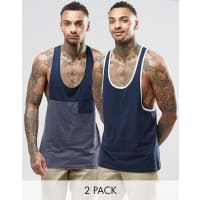 AsosSinglet With Contrast And Extreme Racer Back 2 Pack - Multi