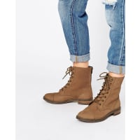 AsosANCROS Leather Lace Up Ankle Boots - Tan