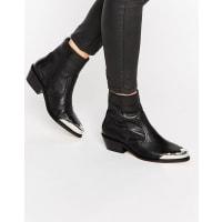 AsosAPHRODITE - Ankle-Boots aus Leder im Western-Stil - Schwarz
