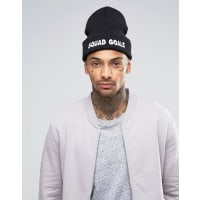 AsosBeanie With Squad Goals Embroidered Slogan - Black