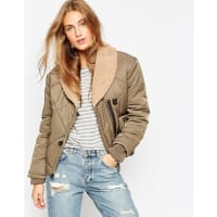 AsosBomber Jacket with Quilt Detail and Borg Collar - Green