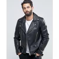 AsosLeather Biker Jacket With Belt in Black - Black