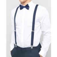 AsosBow Tie And Braces Gift Set In Navy - Navy