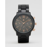AsosBracelet Watch In Black And Rose Gold - Black