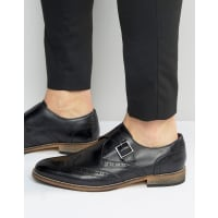 AsosBrogue Monk Shoes in Black Leather - Black
