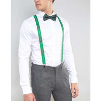 AsosChristmas Bow Tie And Braces Gift Set - Green
