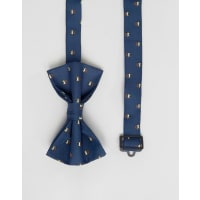 AsosChristmas Bow Tie With Christmas Puddings - Navy