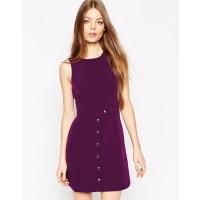 AsosSchlichtes Kleid in A-Linie mit Druckknöpfen - Violett