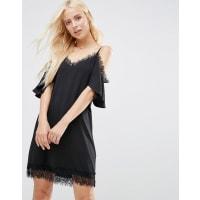 AsosCold Shoulder Cami Dress with Lace Trim - Black