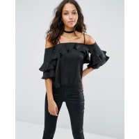 AsosCold Shoulder Top in Satin with Ruffle Sleeve - Black