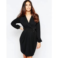 AsosCrepe Wrap Dress With D Ring - Black