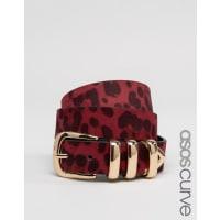 Asos CurveLeopard Multi Keeper Waist And Hip Belt - Burgundy
