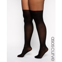Asos CurveMock Over The Knee Tights With Support - Black
