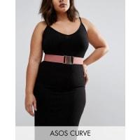 Asos CurvePink Rose Gold Elastic Waist Belt - Pink