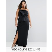 Asos CurveRED CARPET Organza Bandeau Maxi Dress - Black