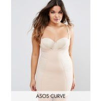 Asos CurveSHAPEWEAR New Improved Fit Wear Your Own Bra Lace Slip - Beige