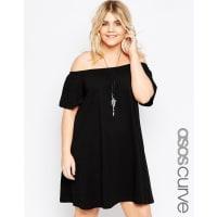 Asos CurveBoho Off Shoulder Dress - Black