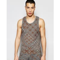 AsosKnitted Singlet with Aztec Design - Grey