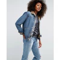 AsosDenim - Giacca di jeans lavaggio medio vintage con fodera in pelliccia sintetica - Blu
