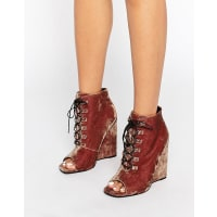 AsosELIS Lace Up Wedge Boots