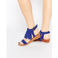 AsosFABIO Fringe Mini Wedge Sandals