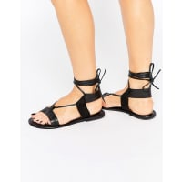 AsosFAIR GROUND Wide Fit Leather Flat Sandals