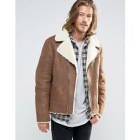 AsosFaux Shearling Biker Jacket In Brown - Brown