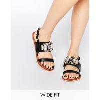 AsosFLASH Wide Fit Embellished Flat Sandals - Black