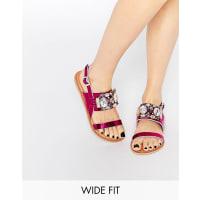 AsosFLASH Wide Fit Embellished Flat Sandals - Pink