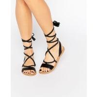 AsosFLEUR Leather Tie Leg Sandals - Black