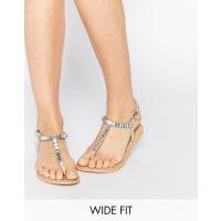AsosFREELANCE Wide Fit Embellished Flat Sandals - Beige