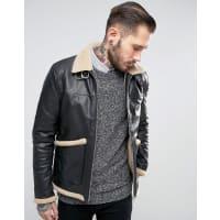 AsosBorg Lined Leather Jacket In Black - Black