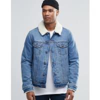 AsosGiacca di jeans con colletto in montone lavaggio medio - Blu