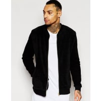 AsosJersey Bomber Jacket In Textured Jersey - Black