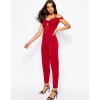 AsosJersey Jumpsuit with Drape Halter and Peg Leg - Red
