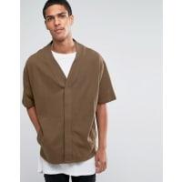AsosJersey Short Sleeve Cardigan In Khaki - Brown